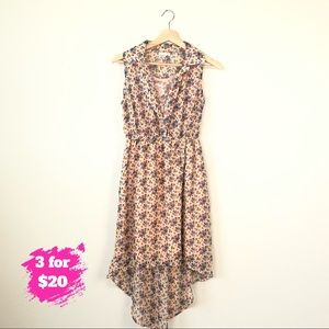 Charlotte Russe Pink Floral HiLow Sleeveless Dress